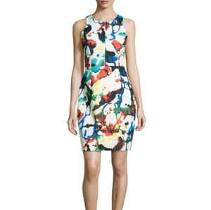 MILLY Racerback Expressionist Paint Sheath Dress
